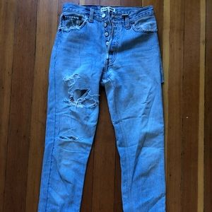 Re/Done high rise jeans with butt rip